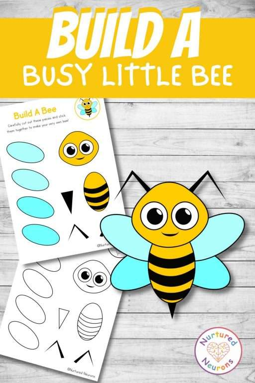 build a bee craft printable cute cut and paste for preschool and kindergarten