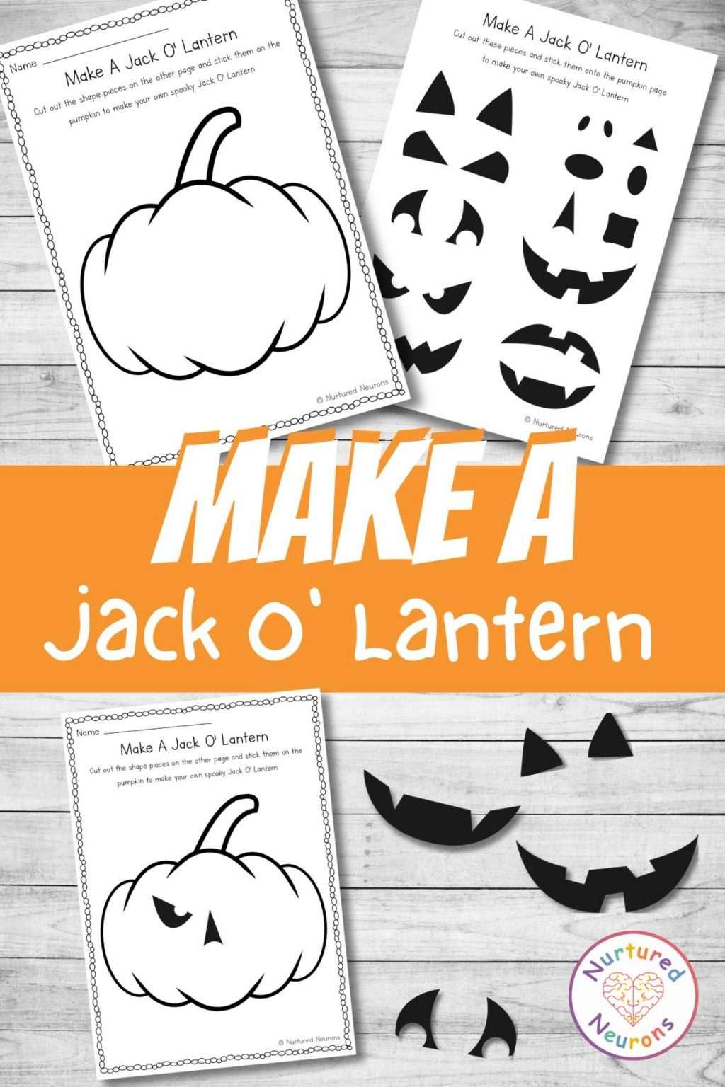 make a jack o lantern printable Halloween craft for kids