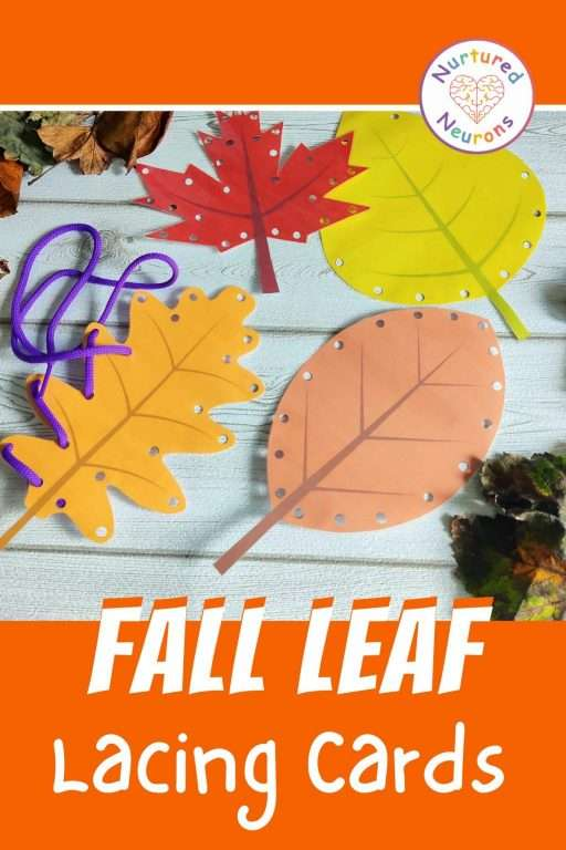 Fall threading cards for kids - printable pdf