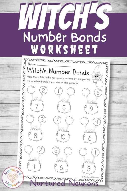 Halloween number bonds worksheet for kindergarten - printable witch math sheet pdf
