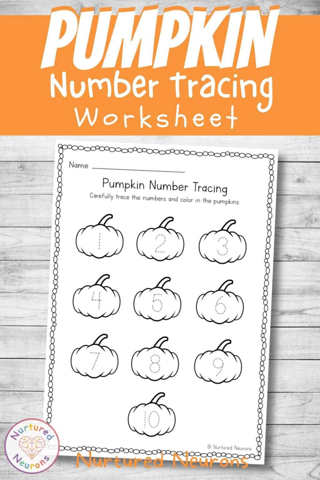 Halloween number tracing worksheet for preschool 1-10