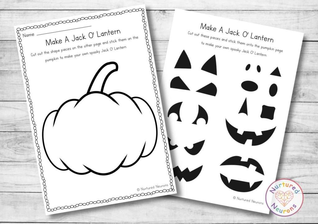 cut and paste pumpkin activity for Halloween