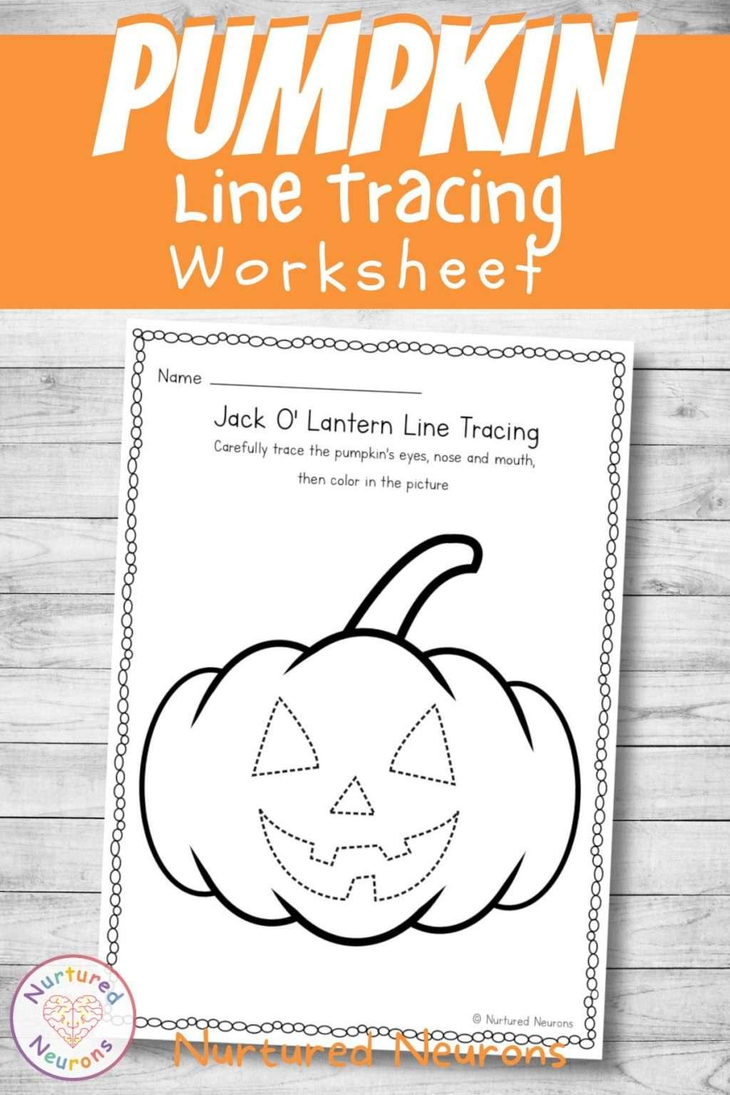 pumpkin line tracing worksheet - prewriting practice