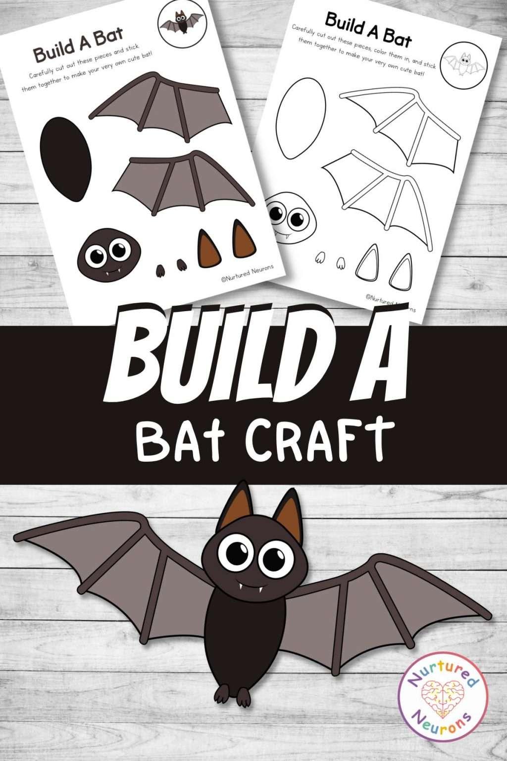 make a bat craft for kids - Halloween printable