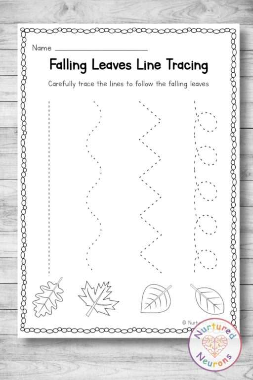 Black and white line tracing worksheets - printable pdf with a fall leaf theme