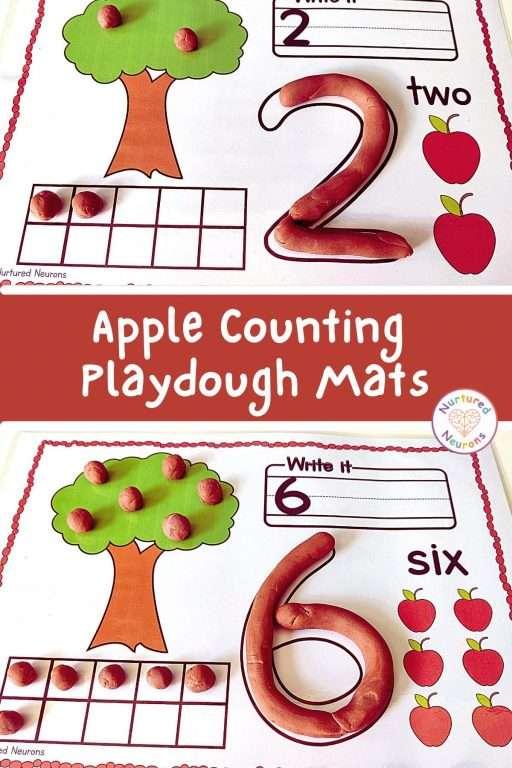 Apple Counting Printable Playdough mats (preschool playdough sheets)