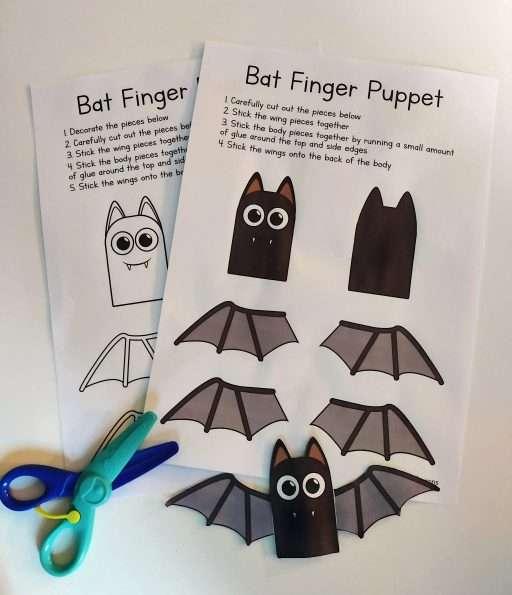 Bat Finger puppet - paper craft for kids