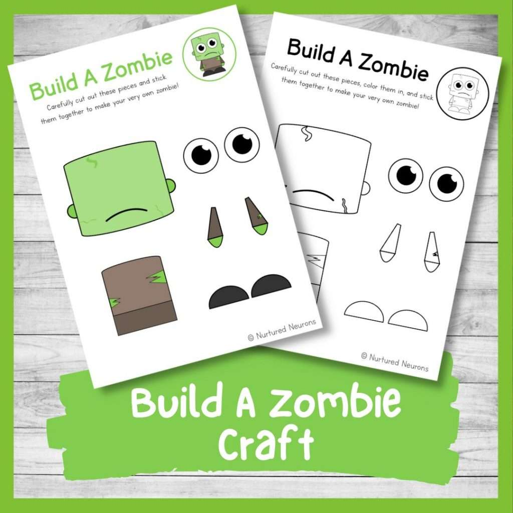 Build a zombie craft - Halloween activity for kids