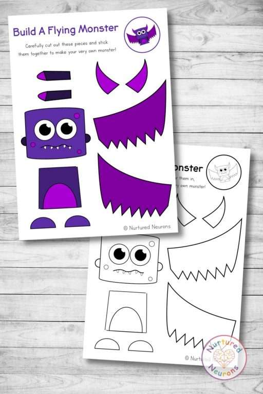 Cute monster templates cut and paste craft (preschool and kindergarten Halloween pdf)