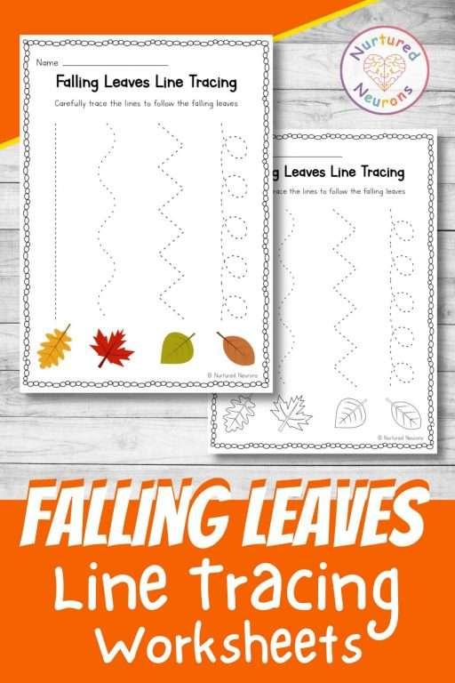 Fall tracing worksheets for preschool and kindergarten - Autumn practice prewriting skills