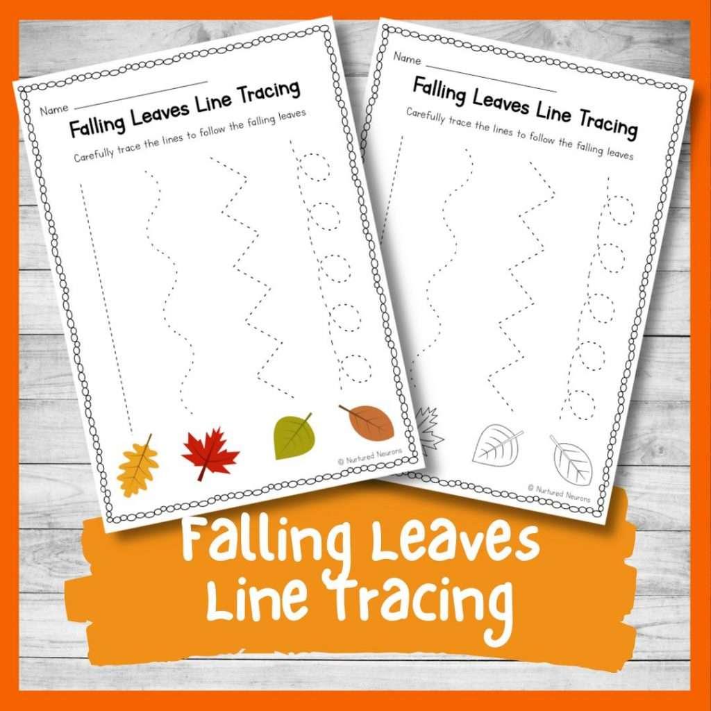 Falling Leaves line tracing worksheets for kids - preschool and kindergarten worksheets pdf