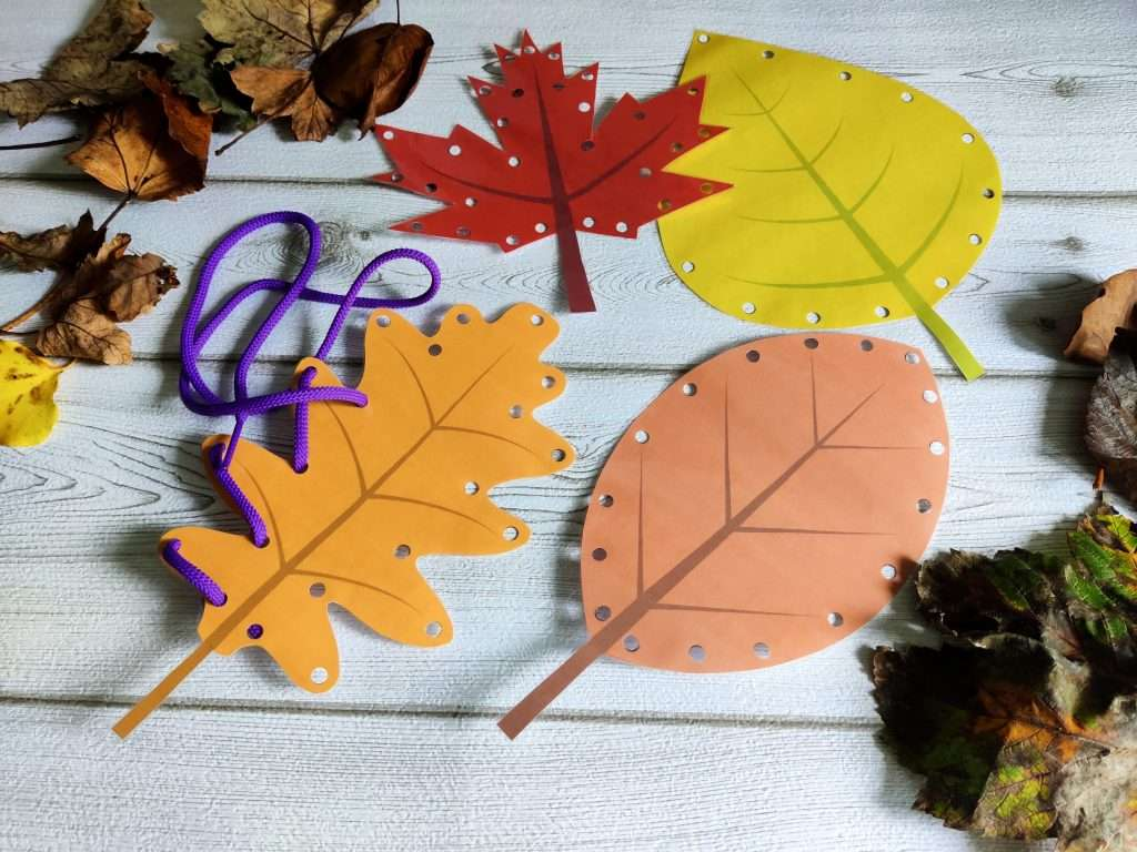 Lacing cards for kids - fall leaf theme