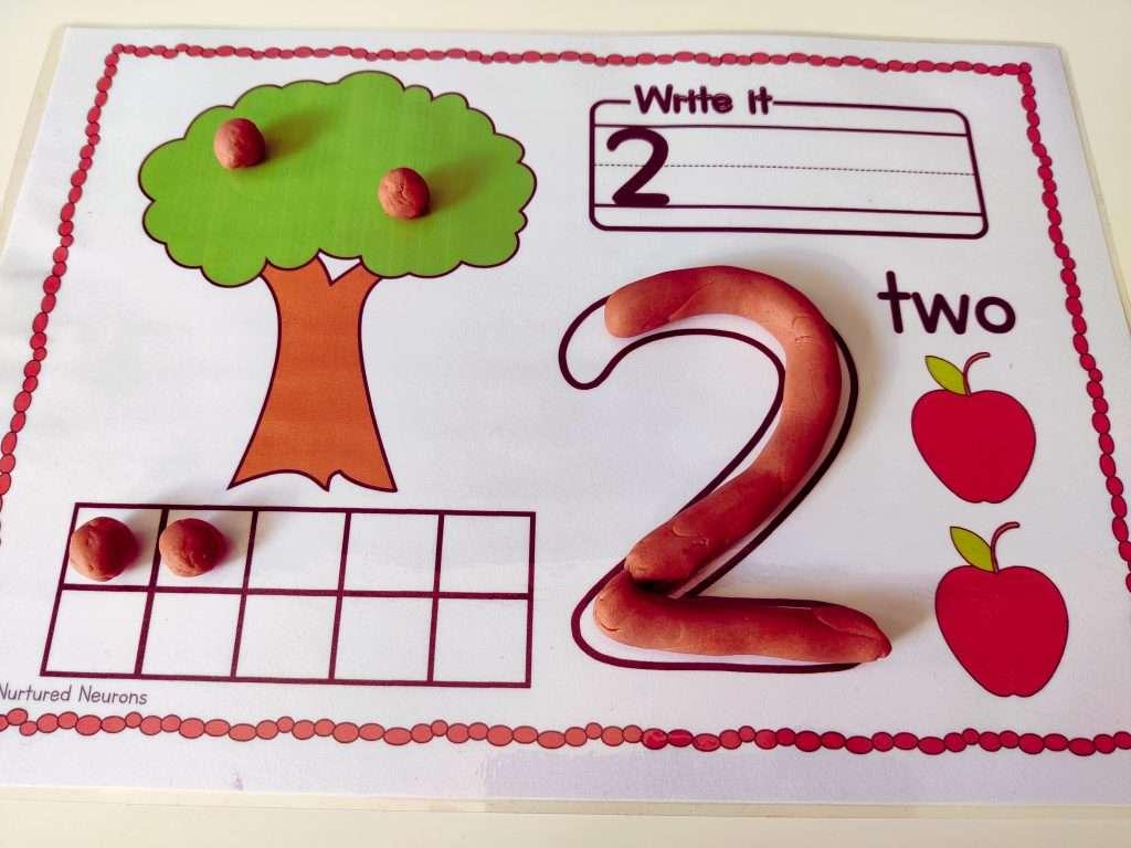 Math playdough mats for preschool and kindergarten
