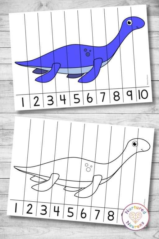 Plesiosaur Number Ordering puzzle (preschool and kindergarten printable math activity for kids)