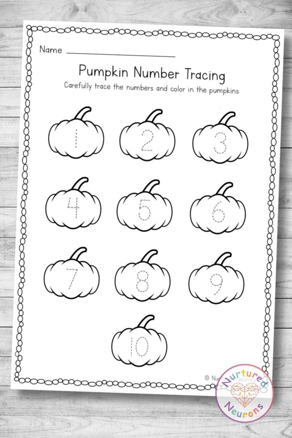 Printable pumpkin number tracing worksheet (kindergarten and preschool math download pdf)