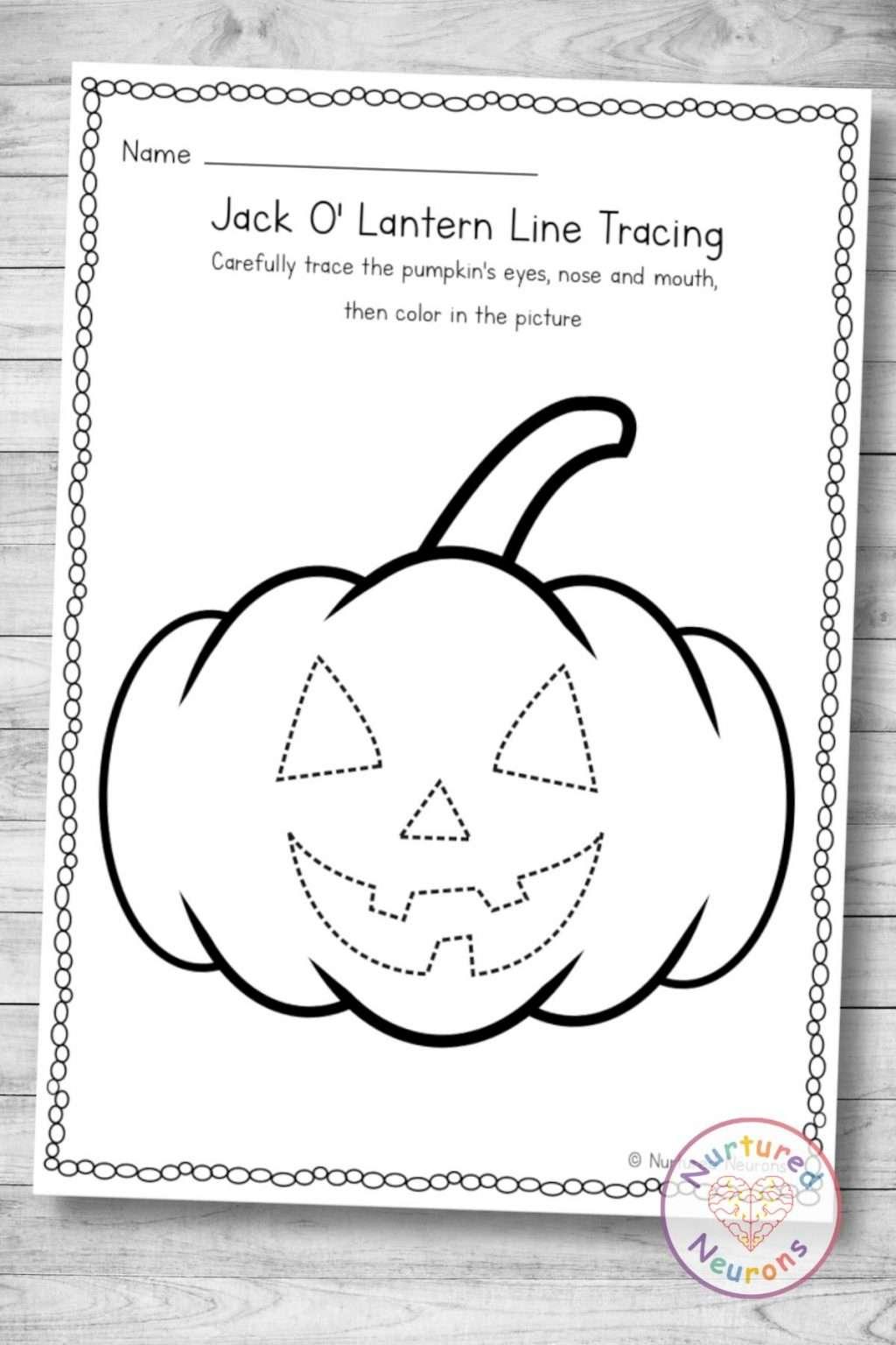 Printable pumpkin tracing worksheet (kindergarten and preschool Halloween download pdf)