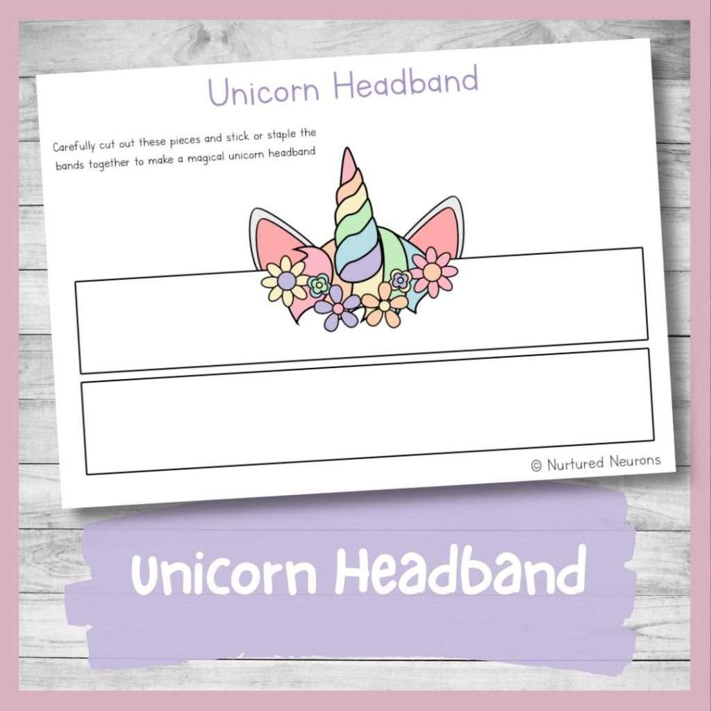 Printable unicorn headband - unicorn hat craft templates
