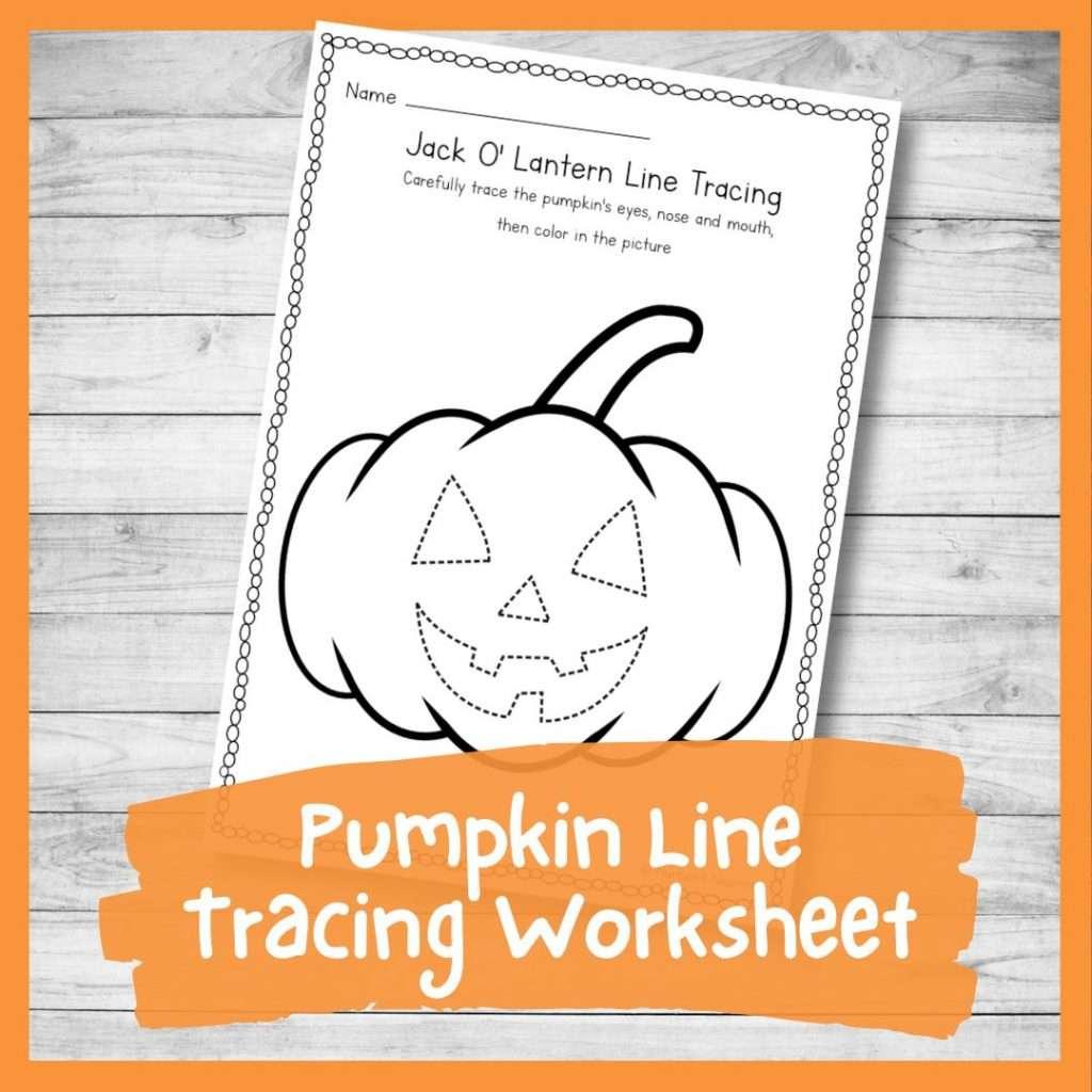 Pumpkin line tracing worksheet - Halloween and fall printable writing sheet