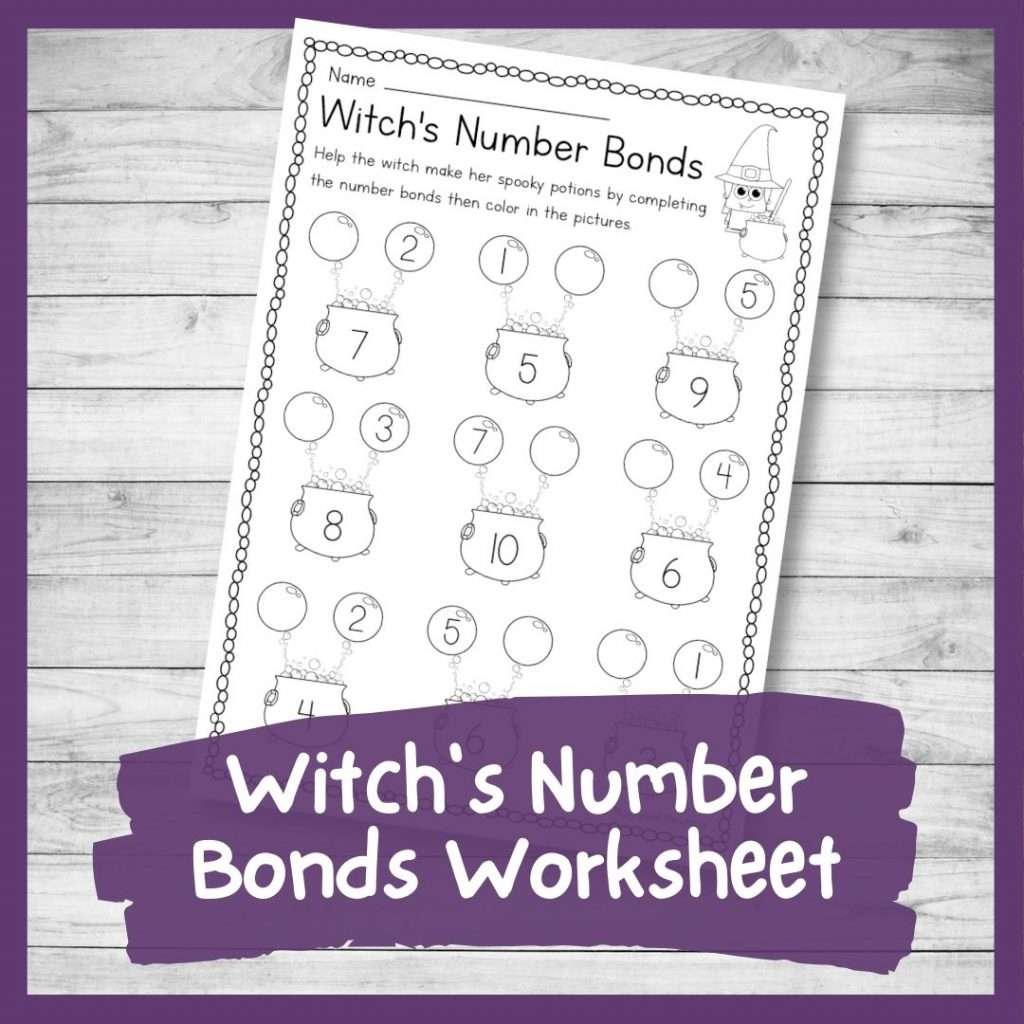 Witch's number bonds worksheet - Halloween printable math sheet