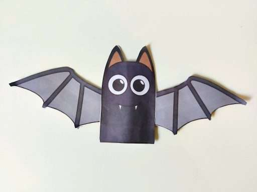 the completed bat finger puppet - perfect for a Halloween craft