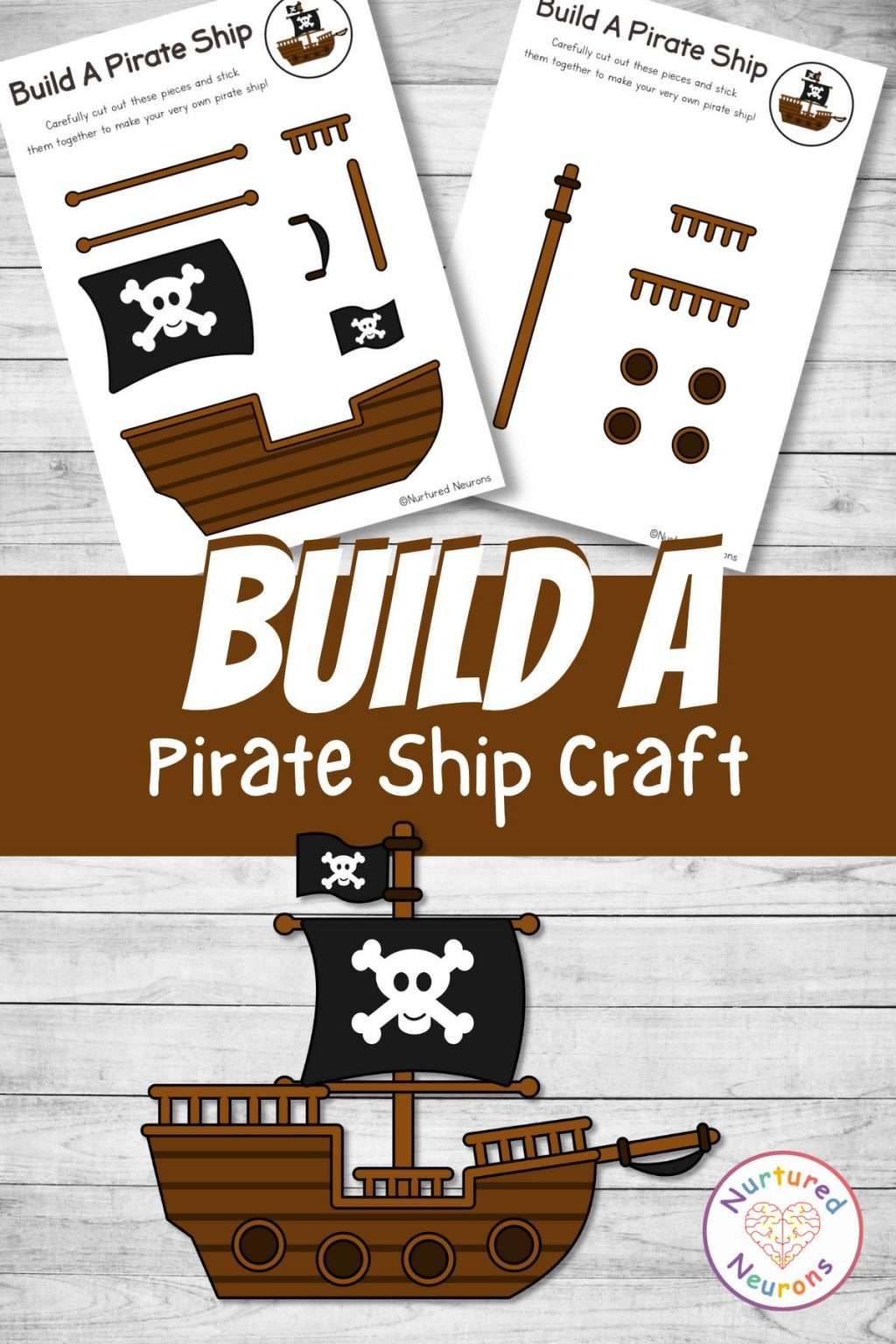 build a pirate ship printable cut and paste for preschool and kindergarten