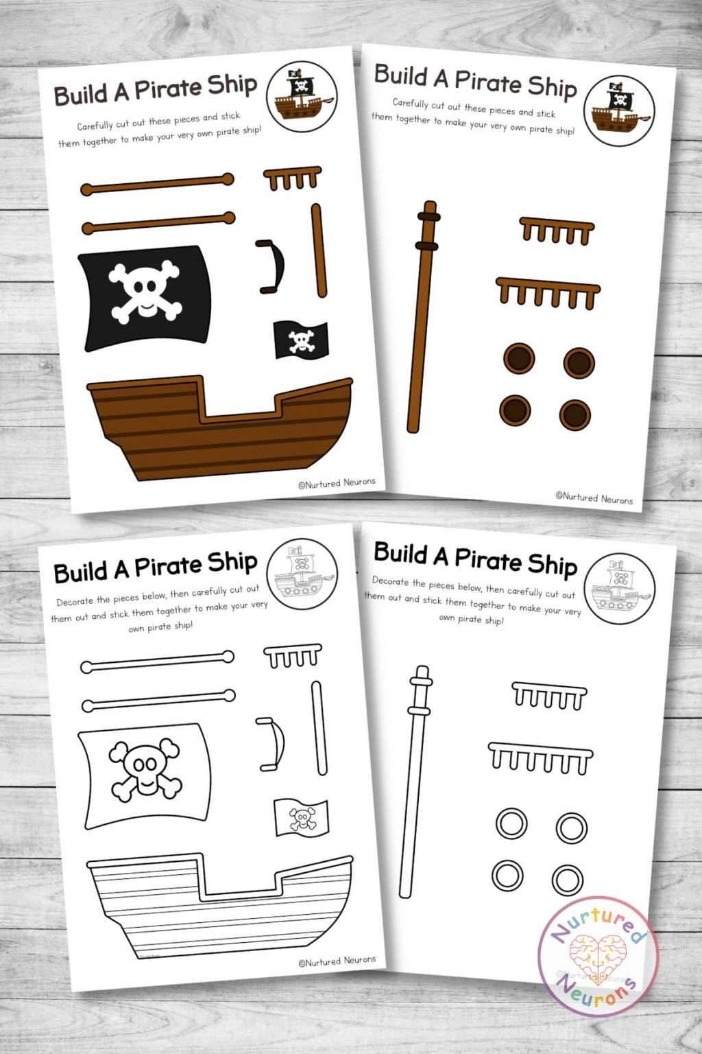 cut and paste printable pirate ship templates