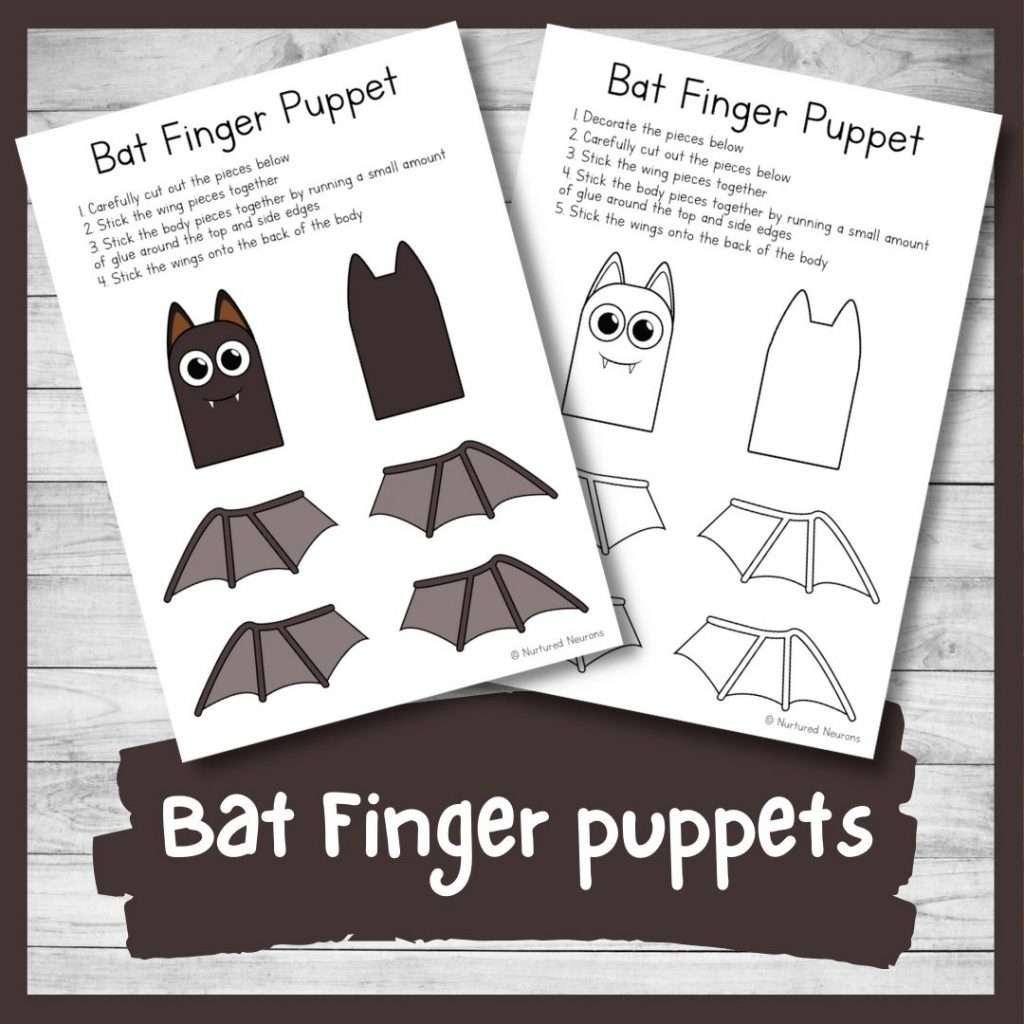 printable bat finger puppets for kids - printable templates