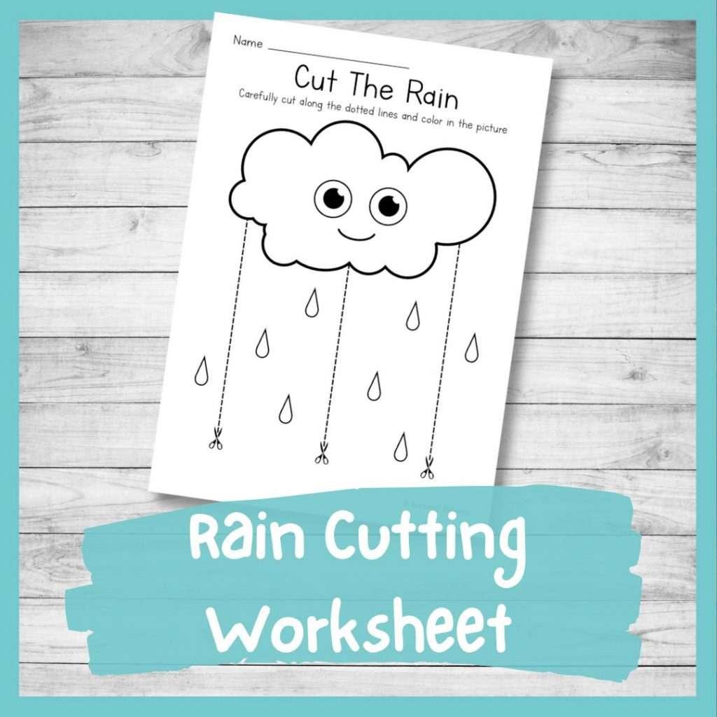 rain cutting worksheet - cutting practice for preschoolers