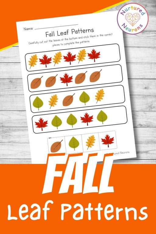 pattern worksheet for kindergarten with a fall theme