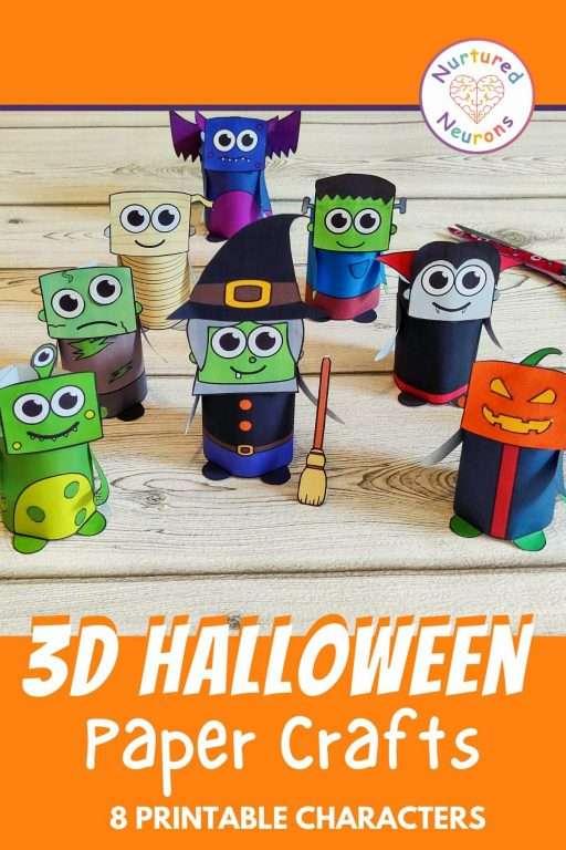 Paper crafts - 3D Halloween monster crafts for kindergarten and preschool
