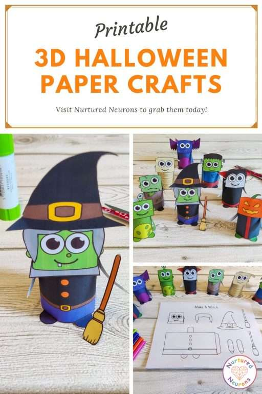 Paper Halloween crafts - make a 3d witch, zombie vampire and more