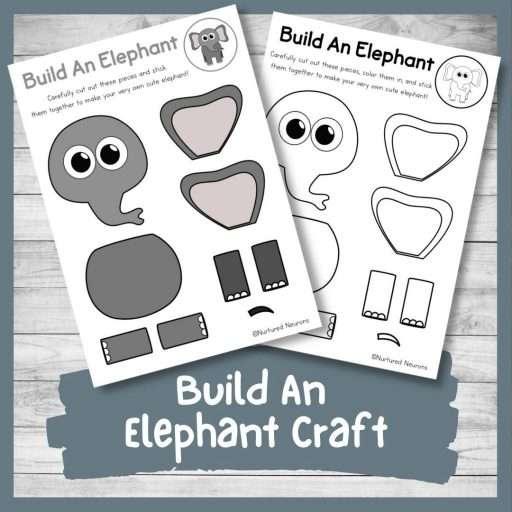 Build an elephant - zoo activity for kids