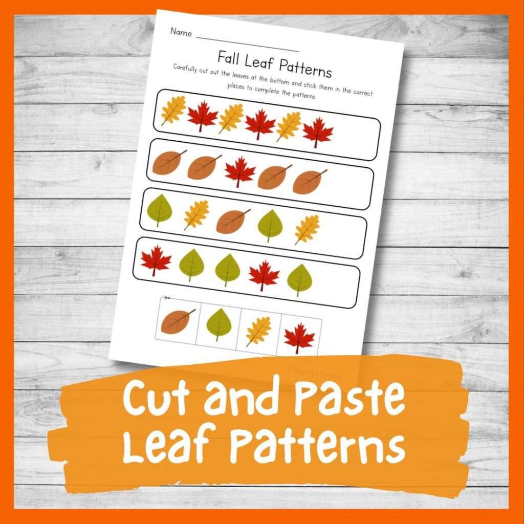 Cut and paste leaf patterns - pattern worksheet for preschool