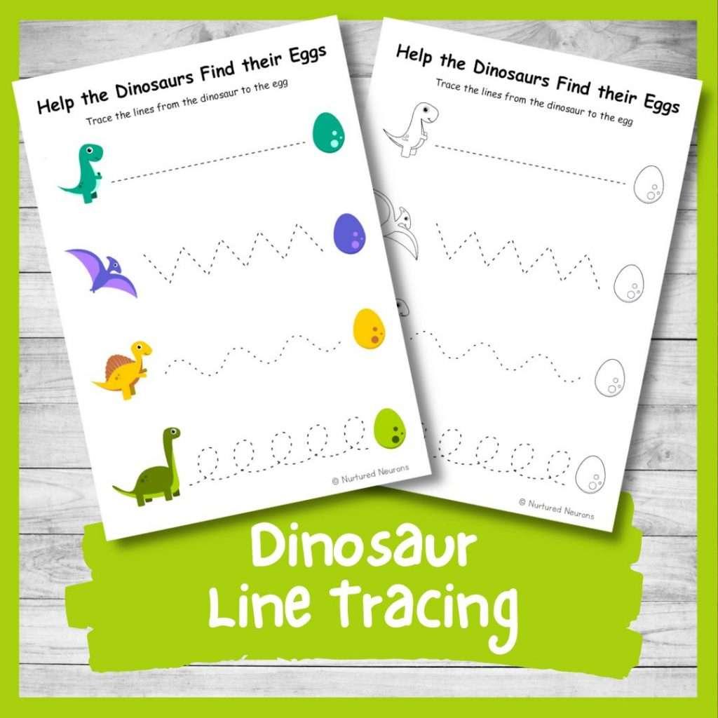Dinosaur line tracing worksheets for kids - preschool and kindergarten worksheets pdf