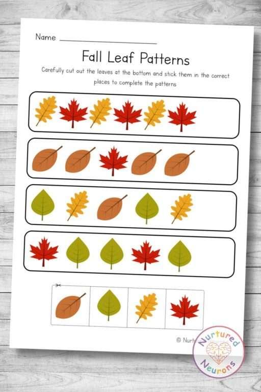 Fall leaf patterns - cut and paste preschool worksheet