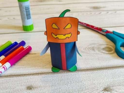 printable paper pumpkin head craft for Halloween