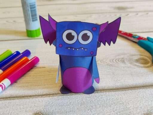 printable paper flying monster craft for Halloween