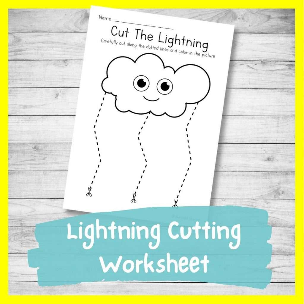 Lightning cutting worksheet - cutting practice for preschoolers