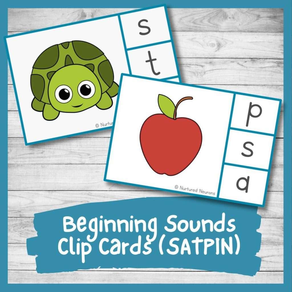 beginning sounds peg cards for preschool and kindergarten phonics - initial sounds