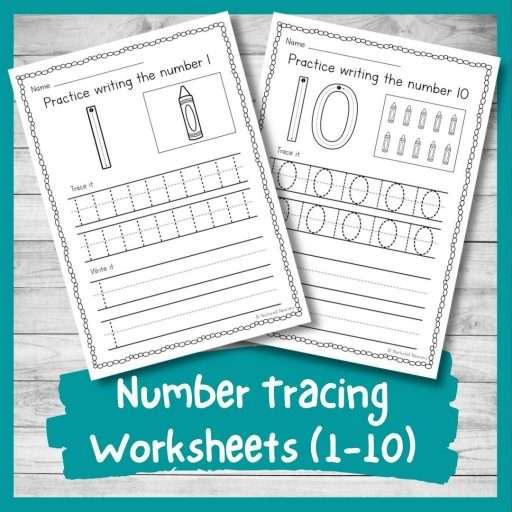 printable number tracing worksheets 1-10 number formation practice sheets