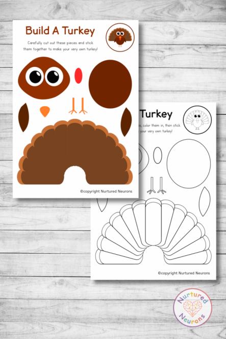Free printable build a TURKEY craft templates preschool toddlers