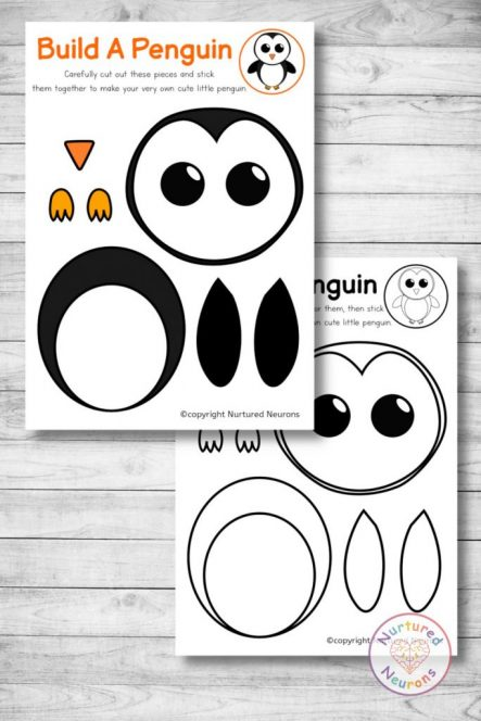 cute printable penguin chick template cut and paste craft (preschool download)