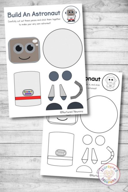 build an astronaut craft printable cute space cut and paste for preschool and kindergarten
