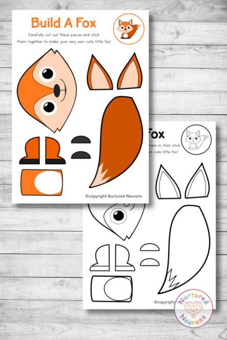 cute printable fox template woodland cut and paste craft (preschool download)