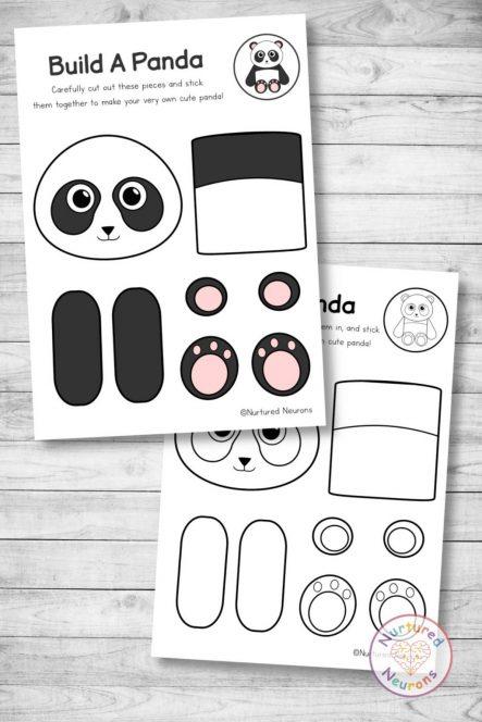 panda template cut and paste farm craft (preschool and kindergarten pdf)