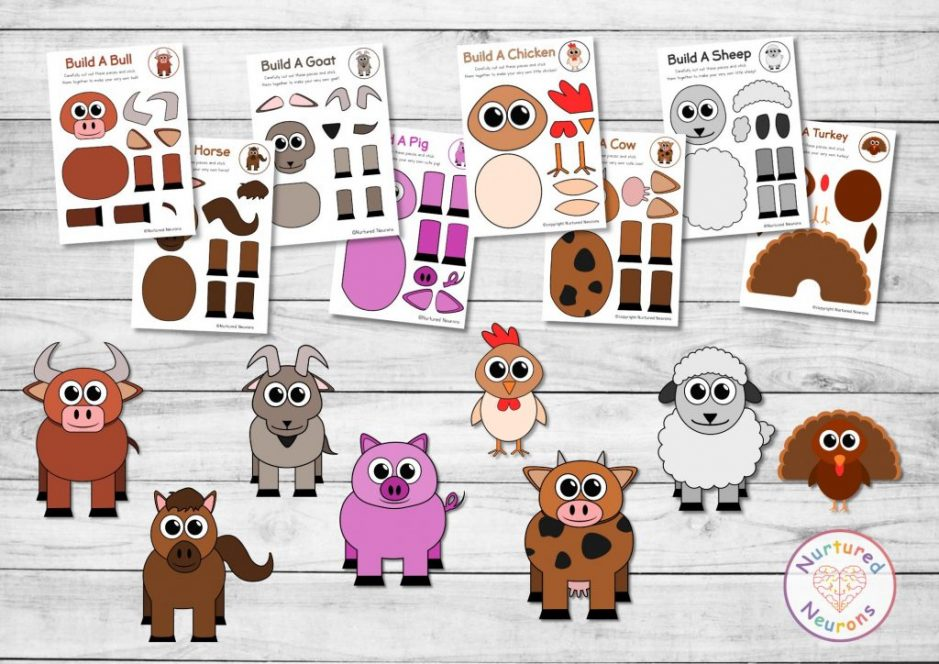 easy farmyard crafts - cut and paste fame animal templates