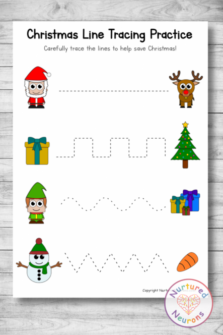 Christmas writing practice Sheets - trace the lines prewriting skills