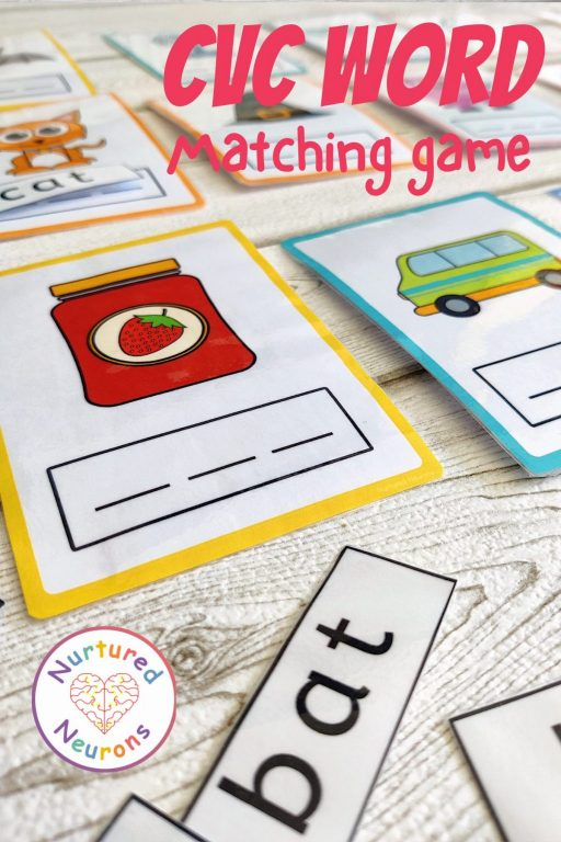 CVC Word cards - phonics game for kindergarten and preschool