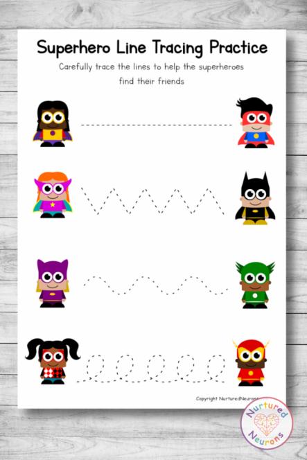 Free printable SUPERHERO Line tracing worksheets preschool