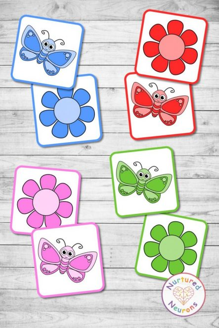 Butterfly color matching game (preschool pdf download)
